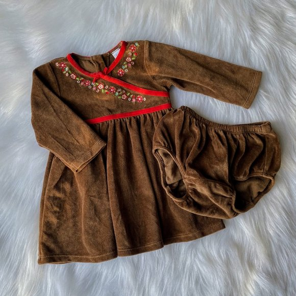 Baby Gap Girls Chestnut Brown Velour Floral Dress